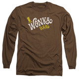 Willy Wonka and the Chocolate Factory Wonka Logo Long Sleeve Adult 18/1 T-Shirt Coffee