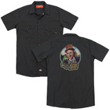 Willy Wonka and the Chocolate Factory It's Scrumdiddlyumptious (Back Print) Adult Work Shirt Black