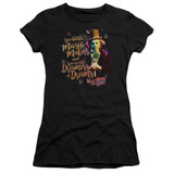 Willy Wonka and the Chocolate Factory Music Makers Premium S/S Junior Women's T-Shirt Sheer Black
