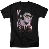 Elvis Presley 70's Star Adult 18/1 T-Shirt Black