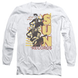 Sun Records Tri Elvis Long Sleeve Adult 18/1 T-Shirt White