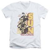 Sun Records Tri Elvis S/S Adult V Neck T-Shirt White