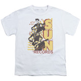 Sun Records Tri Elvis S/S Youth 18/1 T-Shirt White
