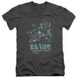 Elvis Presley 68 Leather Adult V-Neck T-Shirt Charcoal