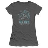Elvis Presley 68 Leather Junior Women's Sheer T-Shirt Charcoal