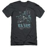 Elvis Presley 68 Leather Adult 30/1 T-Shirt Charcoal