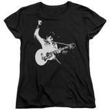 Elvis Presley Black And White Guitarman Women's T-Shirt Black