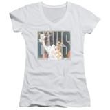 Elvis Presley Aloha Knockout Classic Junior Women's V-Neck T-Shirt White
