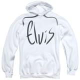 Elvis Presley Sketchy Name Classic Adult Pullover Hoodie Sweatshirt White