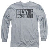 Elvis Presley Block Letters Classic Adult Long Sleeve T-Shirt Athletic Heather