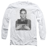 Elvis Presley Army Mug Shot Classic Adult Long Sleeve T-Shirt White