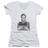 Elvis Presley Army Mug Shot Classic Junior Women's V-Neck T-Shirt White