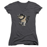Where The Wild Things Are Carol Junior Women's T-Shirt V Neck Charcoal