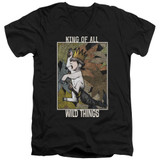 Where The Wild Things Are King Of All Wild Things S/S Adult V Neck 30/1 T-Shirt Black