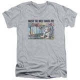 Where The Wild Things Are Cover Art S/S Adult V Neck 30/1 T-Shirt Athletic Heather