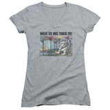 Where The Wild Things Are Cover Art Junior Women's T-Shirt V Neck Athletic Heather