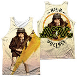 AC/DC Higher Voltage (Front/Back Print) Adult Sublimated Tank Top T-Shirt White