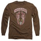 The Warriors Emblem Long Sleeve Adult 18/1 T-Shirt Coffee