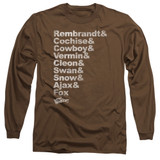 The Warriors Roster Long Sleeve Adult 18/1 T-Shirt Coffee