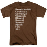 The Warriors Roster S/S Adult 18/1 T-Shirt Coffee