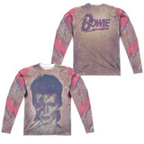 David Bowie Glam (Front/Back Print) Adult Sublimated Long Sleeve T-Shirt White