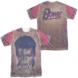 David Bowie Glam (Front/Back Print) Adult Sublimated Crew T-Shirt White