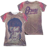 David Bowie Glam (Front/Back Print) Junior Women's Sublimated Crew T-Shirt White