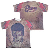 David Bowie Glam (Front/Back Print) Youth Sublimated Crew T-Shirt White