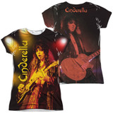 Cinderella Live Show (Front/Back Print) Junior Women's Sublimated Crew T-Shirt White