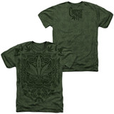 Cypress Hill Leaf Camo (Front/Back Print) Adult Sublimated Heather T-Shirt Military Green
