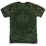 Cypress Hill Leaf Camo Adult Sublimated Heather T-Shirt Military Green
