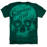 Cypress Hill Skull Adult Sublimated Heather T-Shirt Kelly Green