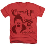 Cypress Hill B Real Y Sen Dog Adult Sublimated Heather T-Shirt Red