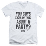 Dazed and Confused Party Time S/S Adult V-Neck 30/1 T-Shirt White