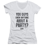 Dazed and Confused Party Time Junior Women's T-Shirt V-Neck White