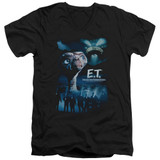 E.T. The Extra Terrestrial Going Home S/S Adult V-Neck 30/1 T-Shirt Black
