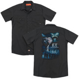 E.T. The Extra Terrestrial Going Home (Back Print) Adult Work Shirt Black