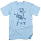 E.T. The Extra Terrestrial Bike S/S Adult 18/1 T-Shirt Light Blue