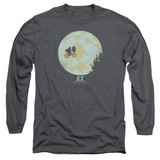 E.T. The Extra Terrestrial In The Moon Long Sleeve Adult 18/1 T-Shirt Charcoal