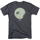 E.T. The Extra Terrestrial In The Moon S/S Adult 18/1 T-Shirt Charcoal