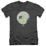 E.T. The Extra Terrestrial In The Moon S/S Adult V-Neck 30/1 T-Shirt Charcoal