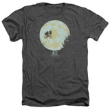 E.T. The Extra Terrestrial In The Moon Adult T-Shirt Heather Charcoal