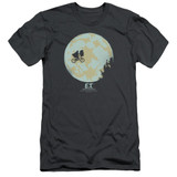 E.T. The Extra Terrestrial In The Moon S/S Adult 30/1 T-Shirt Charcoal