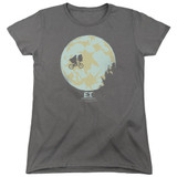 E.T. The Extra Terrestrial In The Moon S/S Women's T-Shirt Charcoal