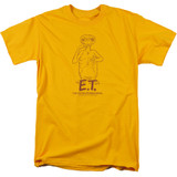E.T. The Extra Terrestrial Alien Swag S/S Adult 18/1 T-Shirt Gold