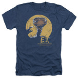 E.T. The Extra Terrestrial Moon Frame Adult T-Shirt Heather Navy