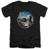 E.T. The Extra Terrestrial Gertie Kisses S/S Adult V-Neck 30/1 T-Shirt Black