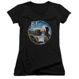 E.T. The Extra Terrestrial Gertie Kisses Junior Women's T-Shirt V-Neck Black