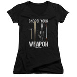 Pulp Fiction Choices Junior Women's T-Shirt V Neck Black