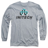 Office Space Initech Logo Long Sleeve Adult 18/1 T-Shirt Athletic Heather